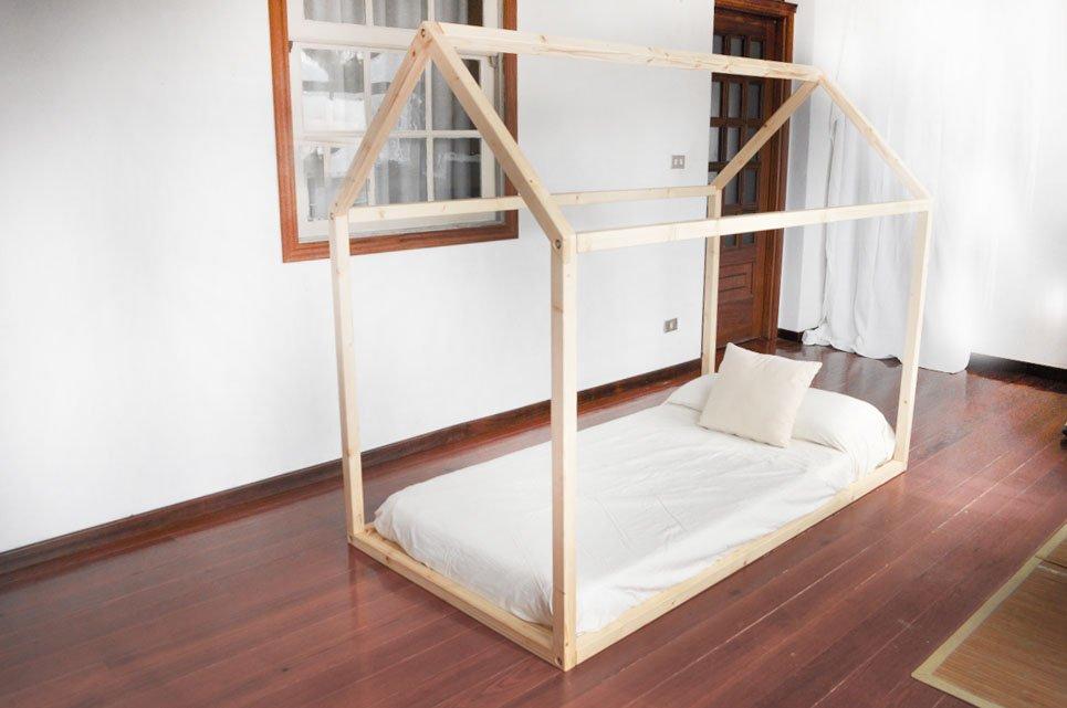 Cama Infantil Tipo Montessori Con Dosel 192x92x160cm Patapum