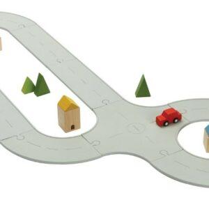 Carretera y tren de caucho Plantoys